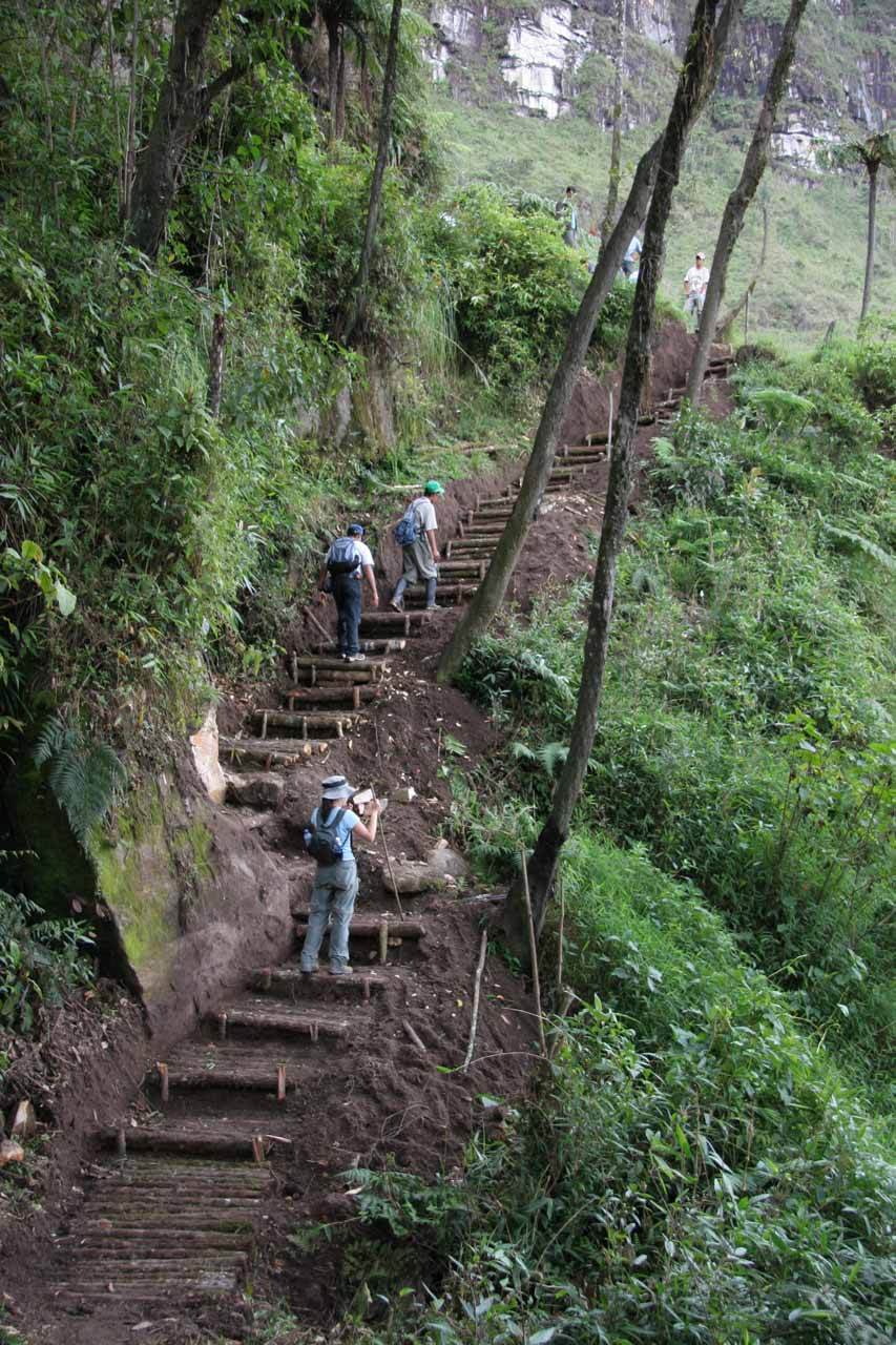Going up steps as we got closer to the upper Gocta Waterfall