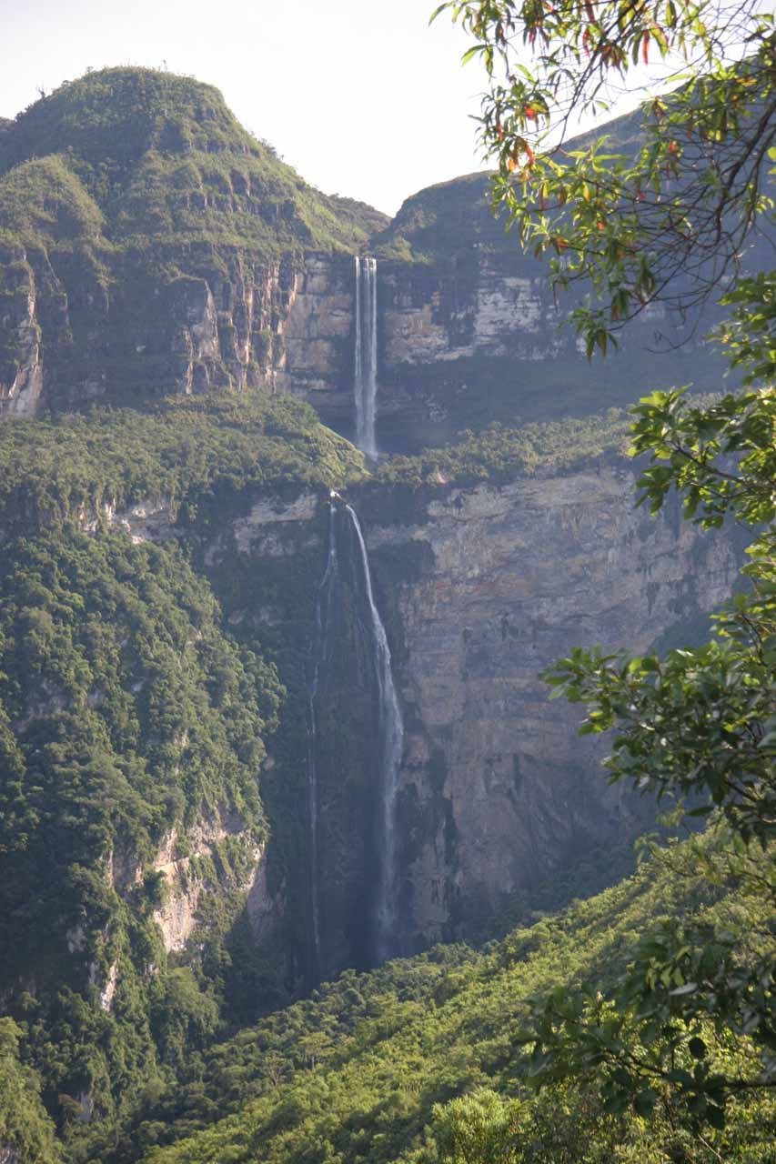 Looking up ahead at the impressive Catarata Gocta from the lower trail