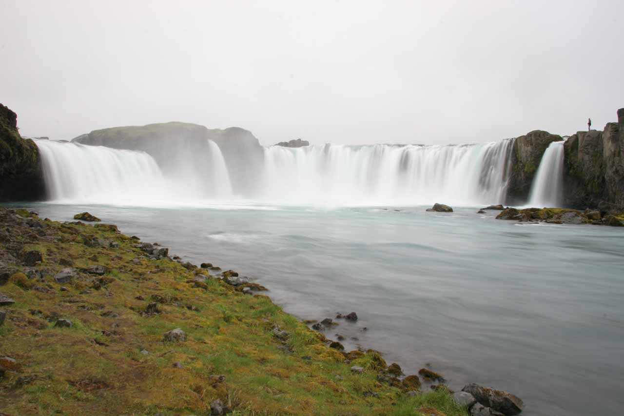 Approaching Goðafoss from the level of the river on its east bank.  Note the person on the topright providing some sense of scale
