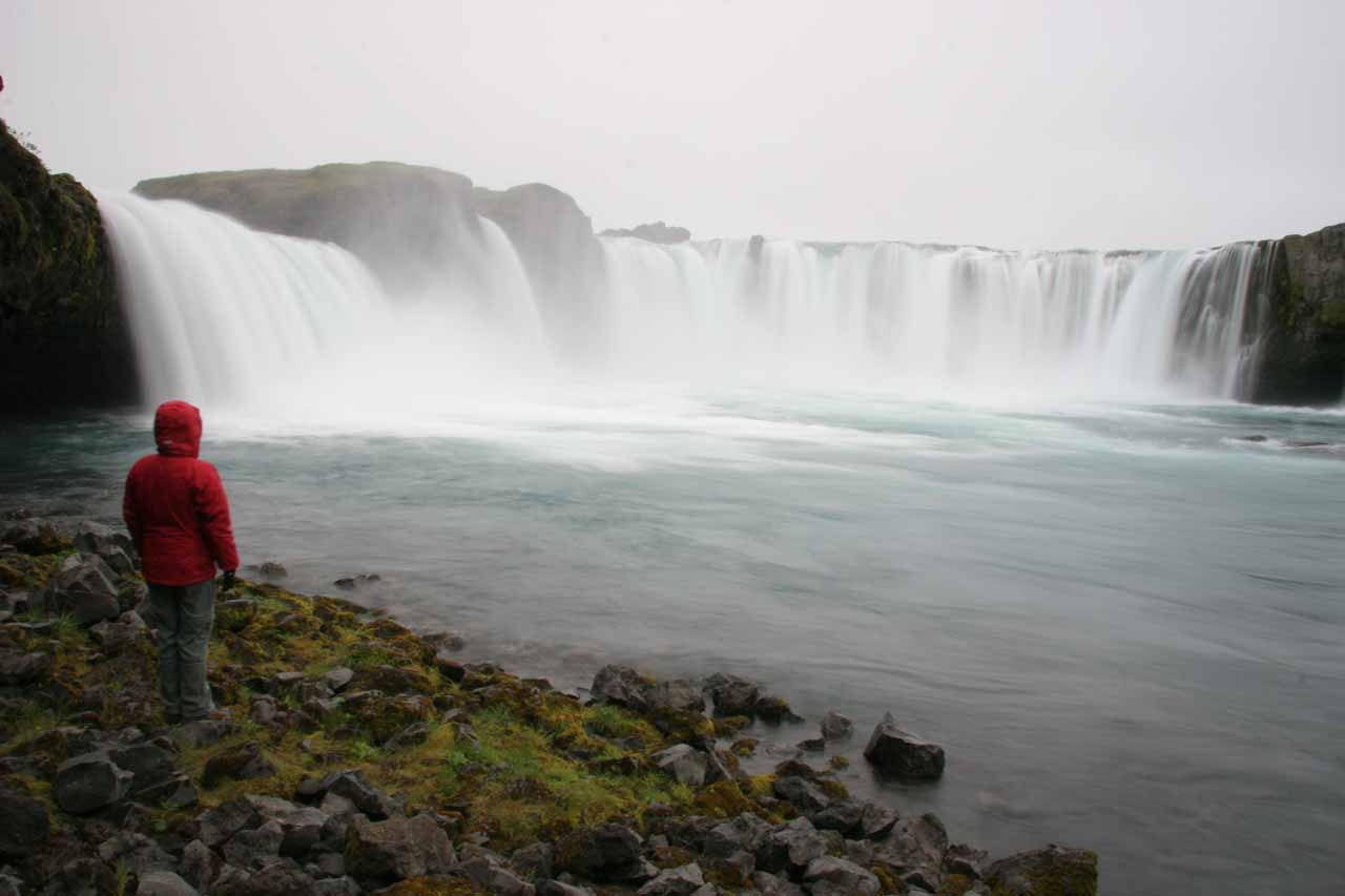 Julie near the bottom of the east bank of Goðafoss