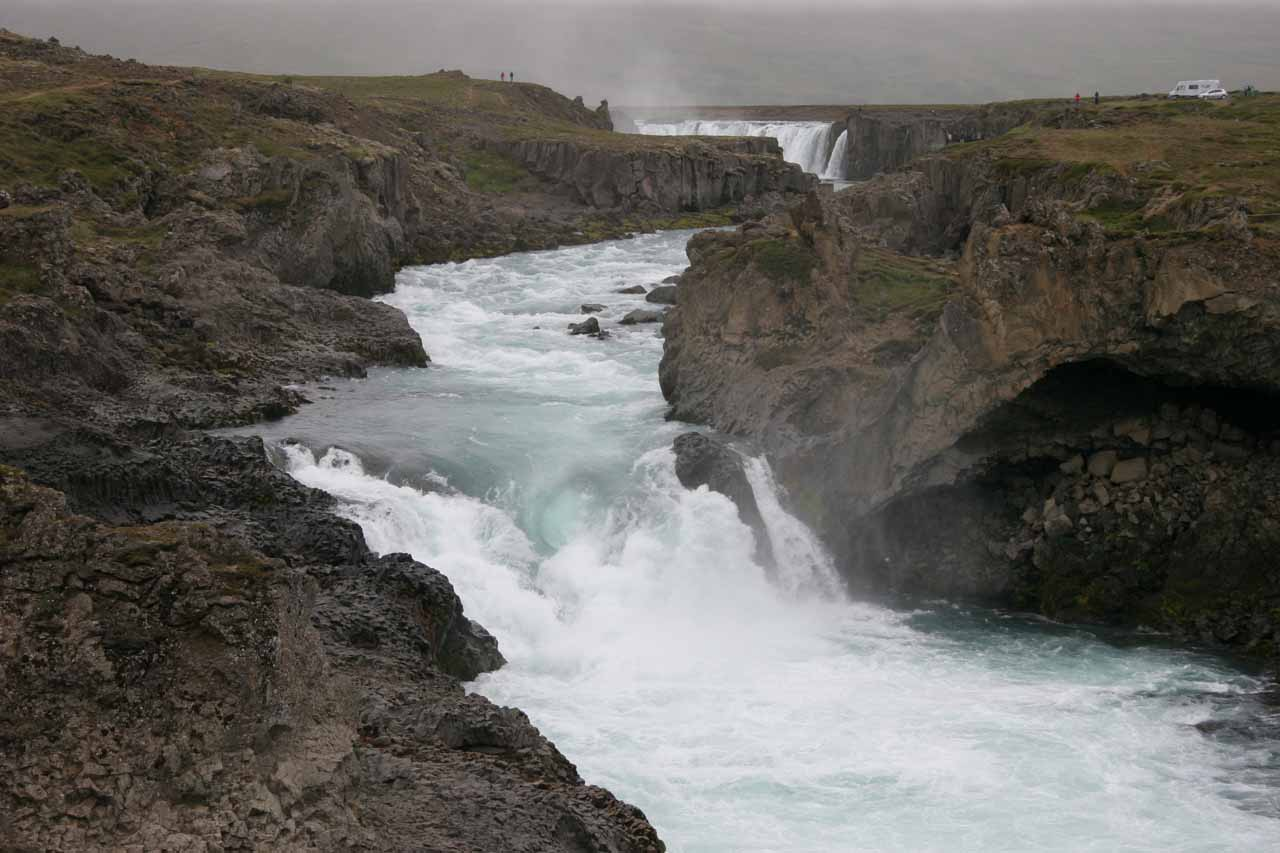 Looking right at Geitafoss with part of Goðafoss seen further upstream on the Skjálfandafljót
