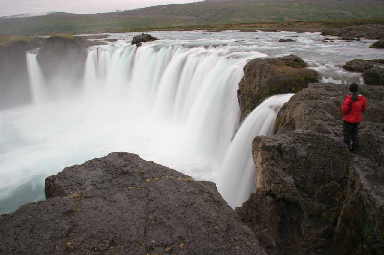 Julie contemplates Goðafoss from the west bank