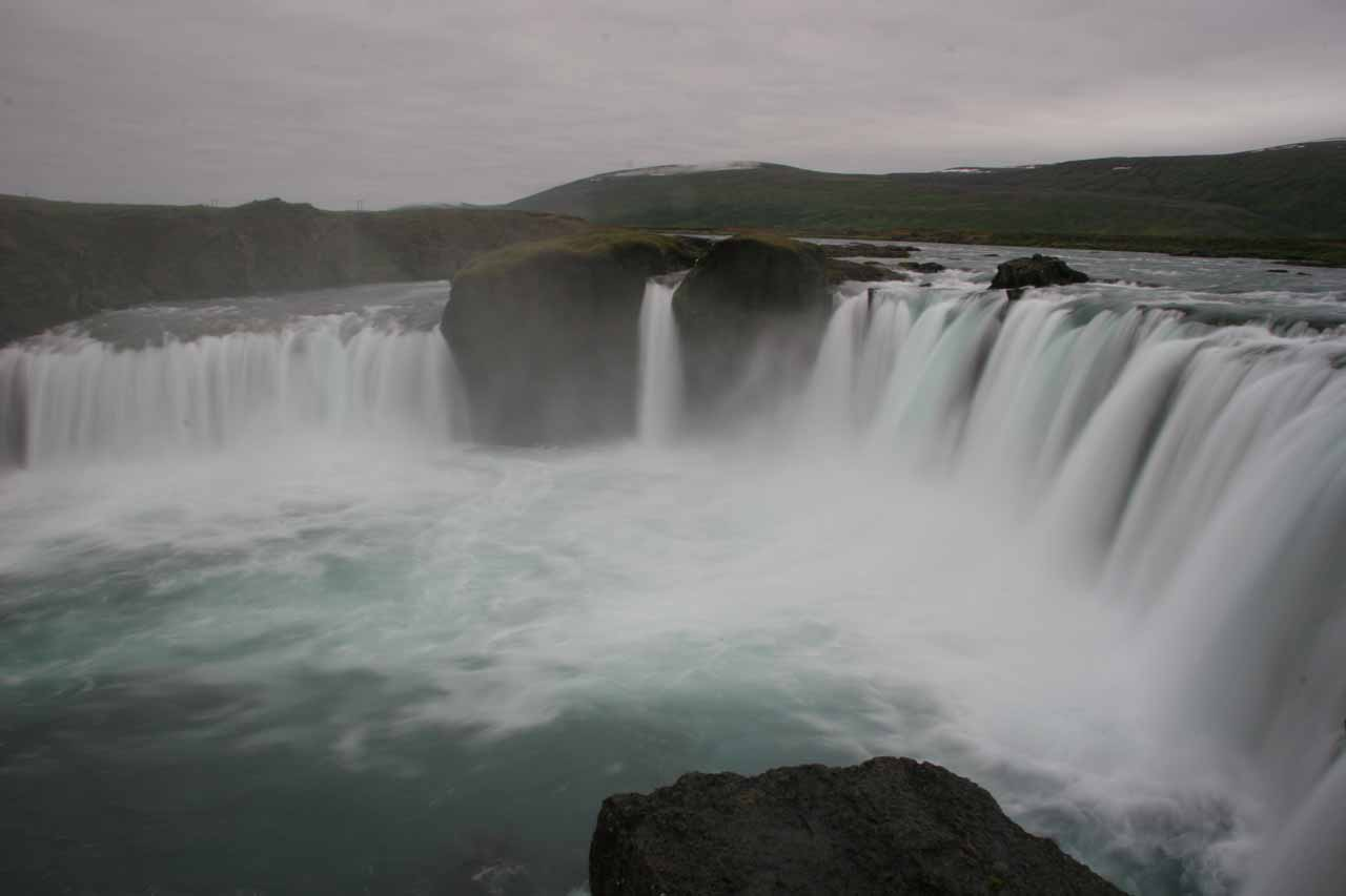 View of Goðafoss from its brink at its west bank getting us closer to the falls than from the east side