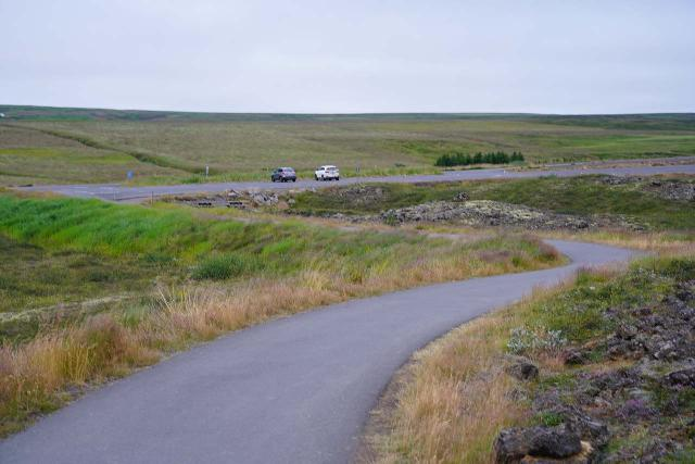Godafoss_120_08132021 - Looking towards the car park for the east side of Goðafoss, which was just south of the buildings by the Fosshóll Farm