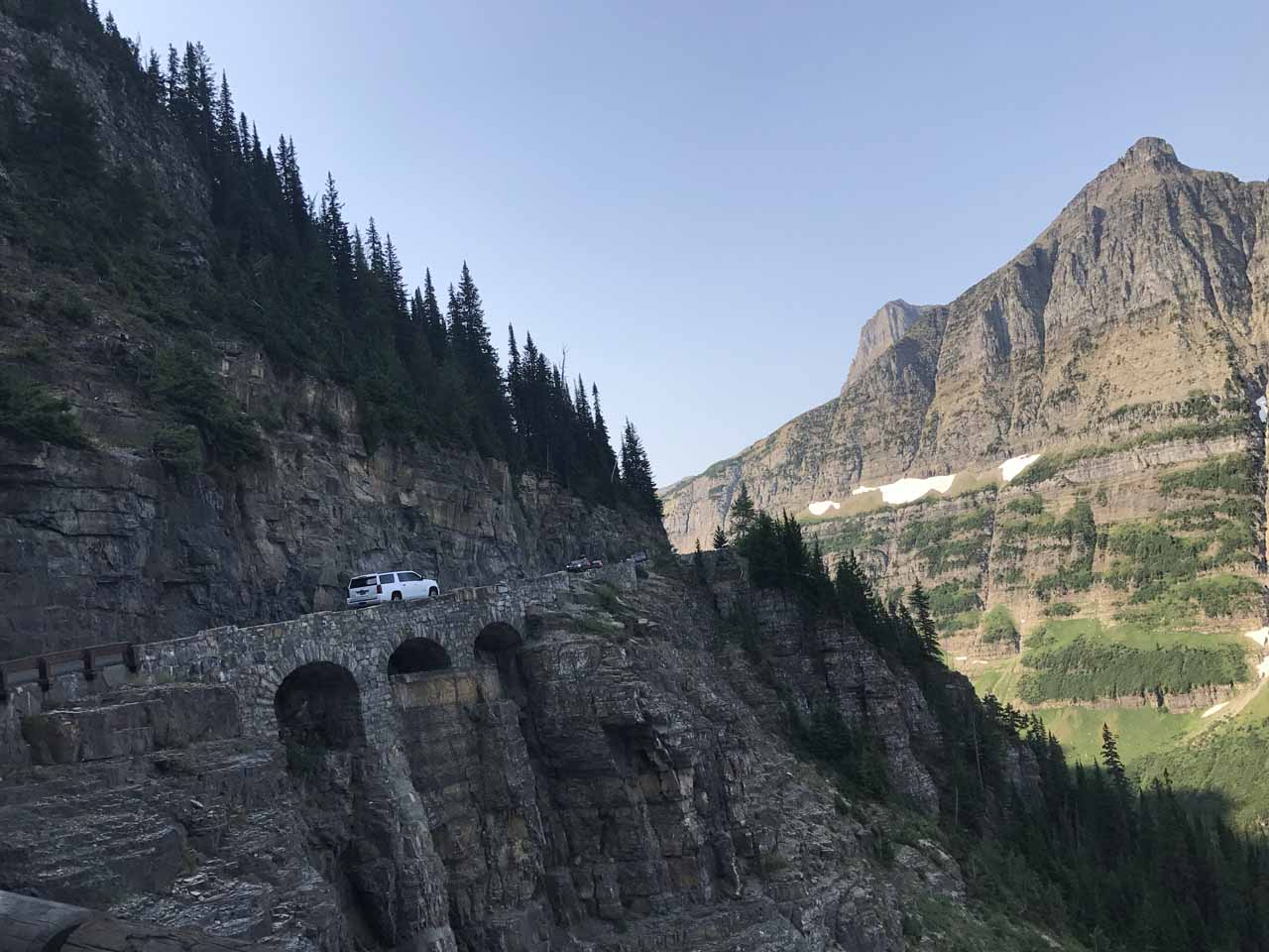 There was no pullout to get a good look at the Triple Arches so Julie managed to take this shot while I was driving east towards Logan Pass in the morning