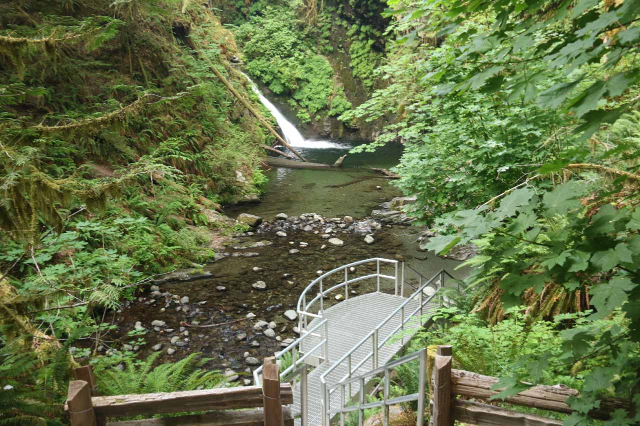 Approaching a lookout area for Goldstream Falls