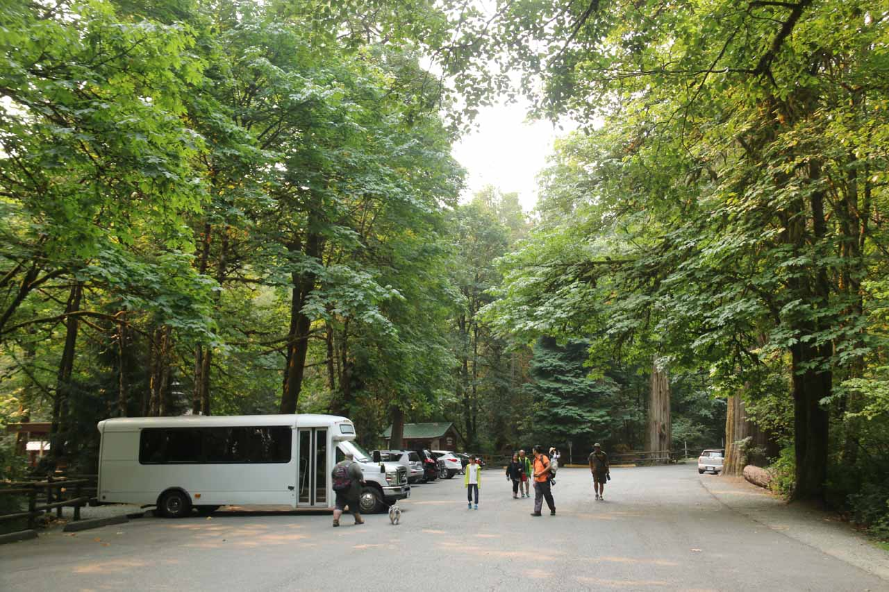 Looking back at the main parking lot for the Goldstream Provincial Park Visitor Centre