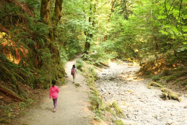 Goldstream_Niagara_Falls_015_08022017 - Julie and Tahia following alongside the dry bouldery stream on the way to the 'Goldstream Niagara Falls'
