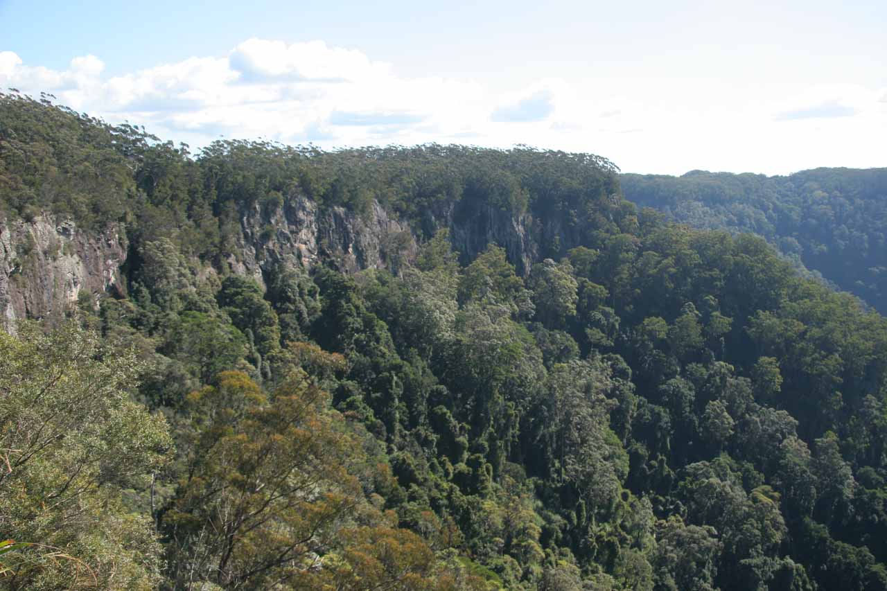 The panoramic view from the top of Goomoolahra Falls