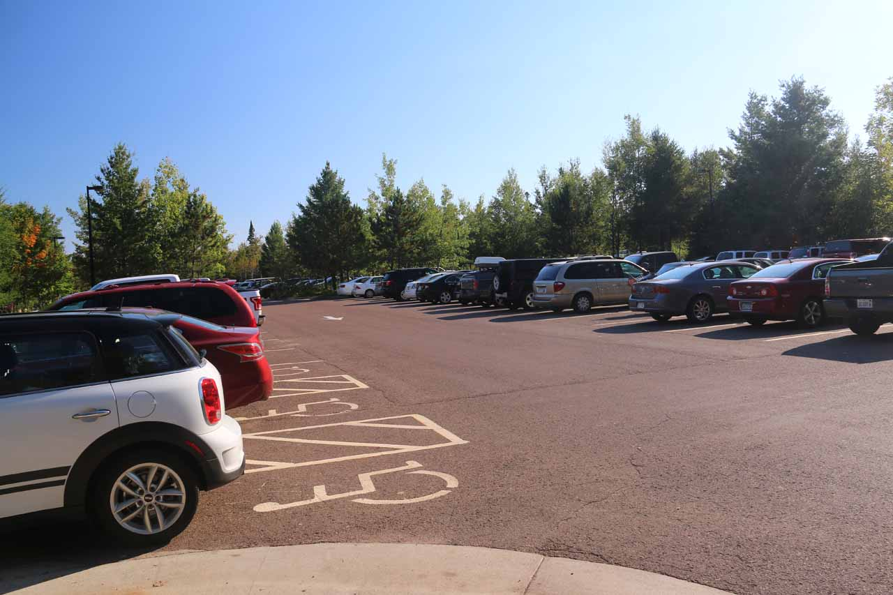 The big car park for Gooseberry Falls State Park