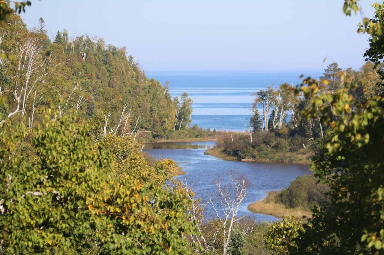 Looking downstream along the river towards Lake Superior in the distance