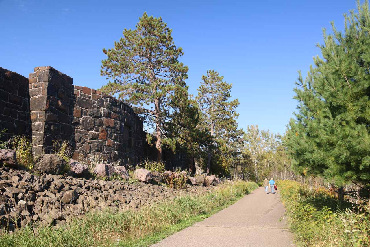 The castle-like walls lining Hwy 61 as we were walking towards Gooseberry Falls