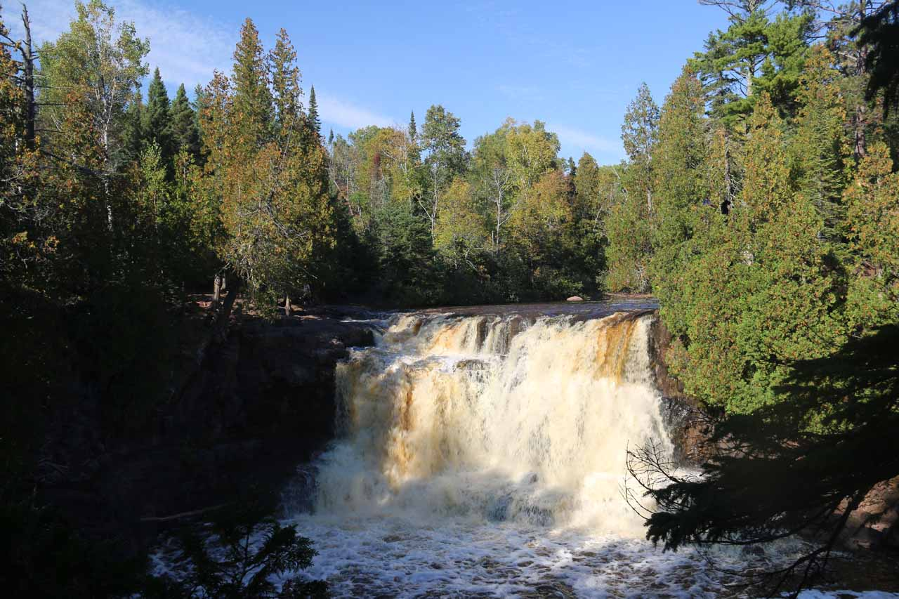 Direct view of the Upper Gooseberry Falls