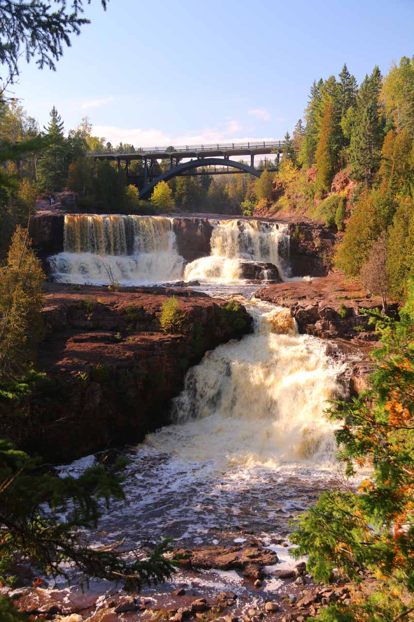 Perhaps the most photogenic view of just part of the Middle and Lower Gooseberry Falls