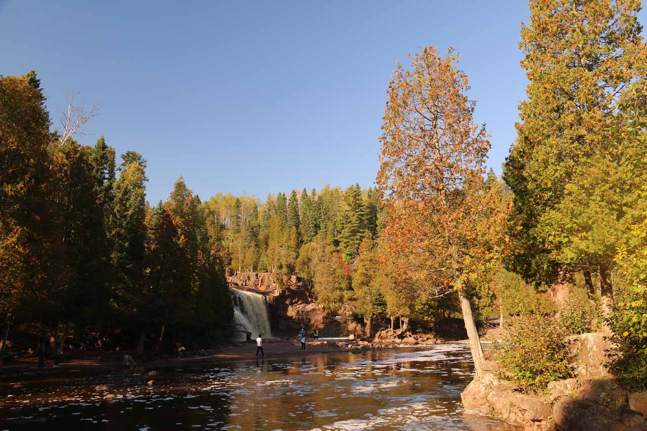 Looking back upstream towards part of the Lower Gooseberry Falls from one of the footbridges across the Gooseberry River