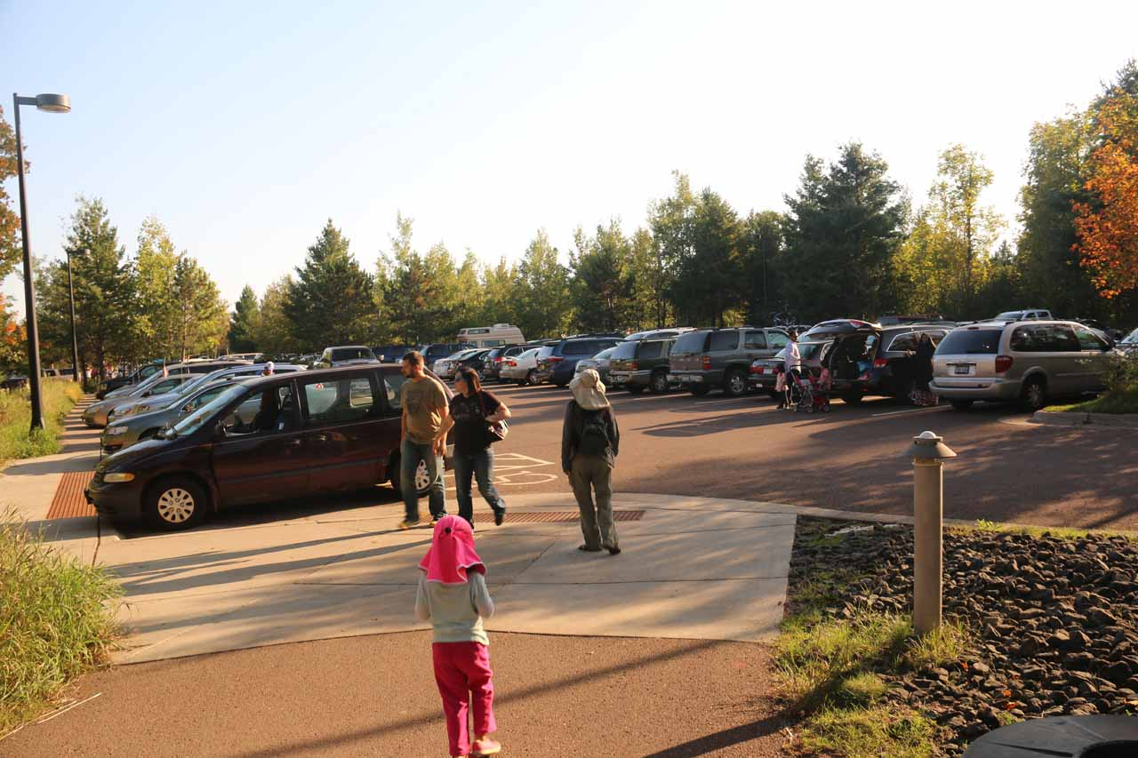 Julie and Tahia finally making it back to the big car park to wrap up our Gooseberry Falls hike