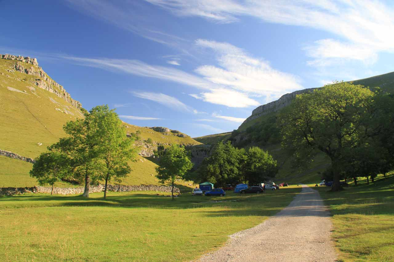 Going past the campground fronting Gordale Scar