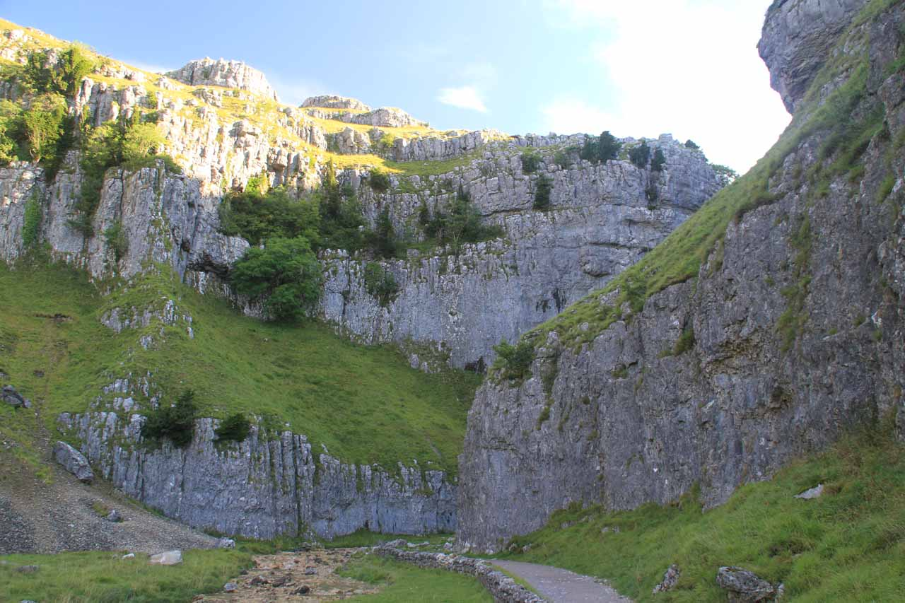 Looking right up at the impressive limestone cliffs of the Gordale Scar