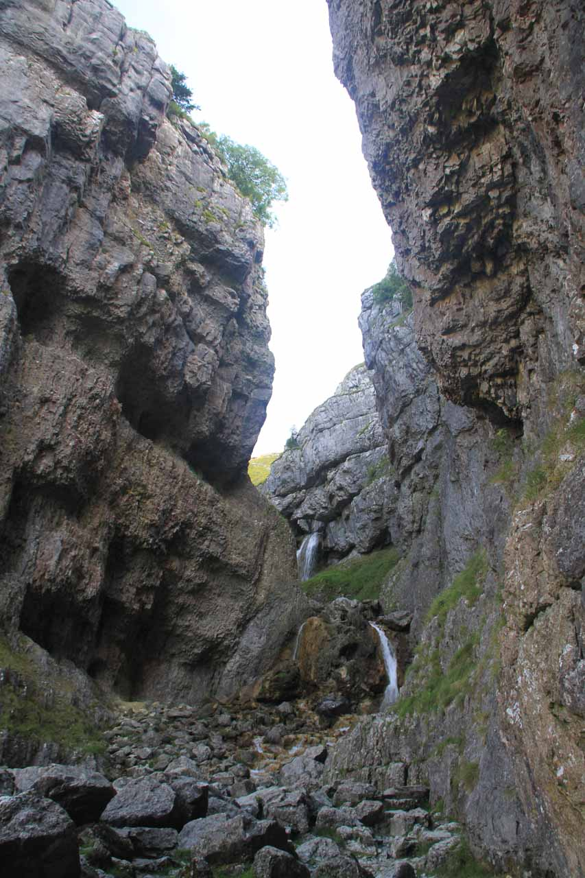 Context of the Gordale Scar waterfall with the cliffs closing in