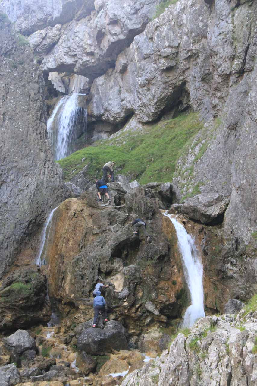 Looking at some boys making the climb up the waterfalls of the Gordale Scar