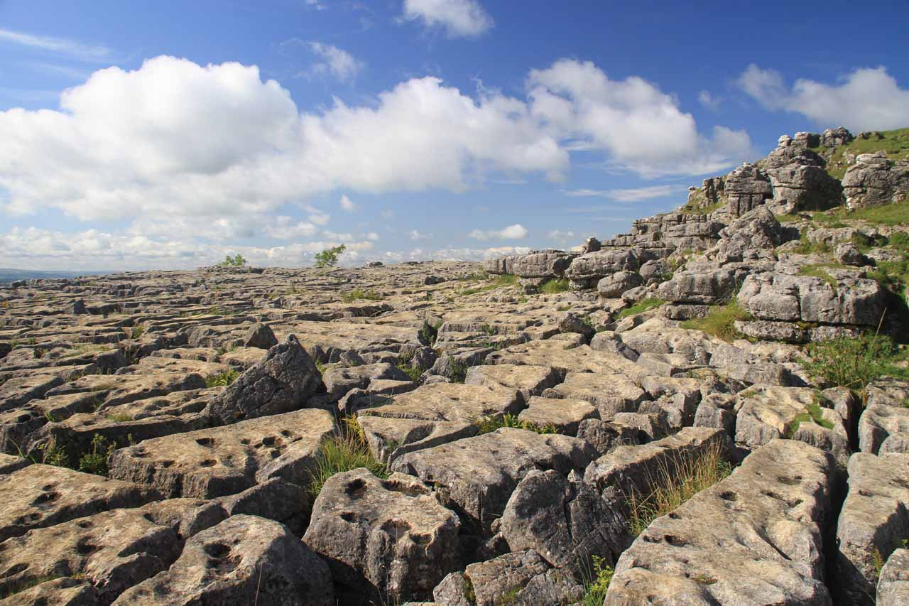 The strangely rocky terrain right above the Malham Cove