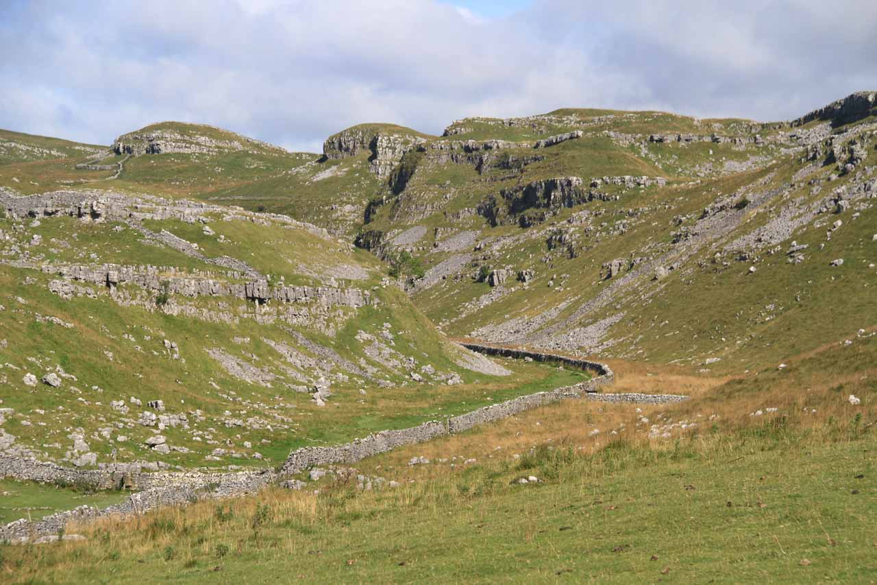 Looking towards some attractive fells as I was leaving the Malham Cove
