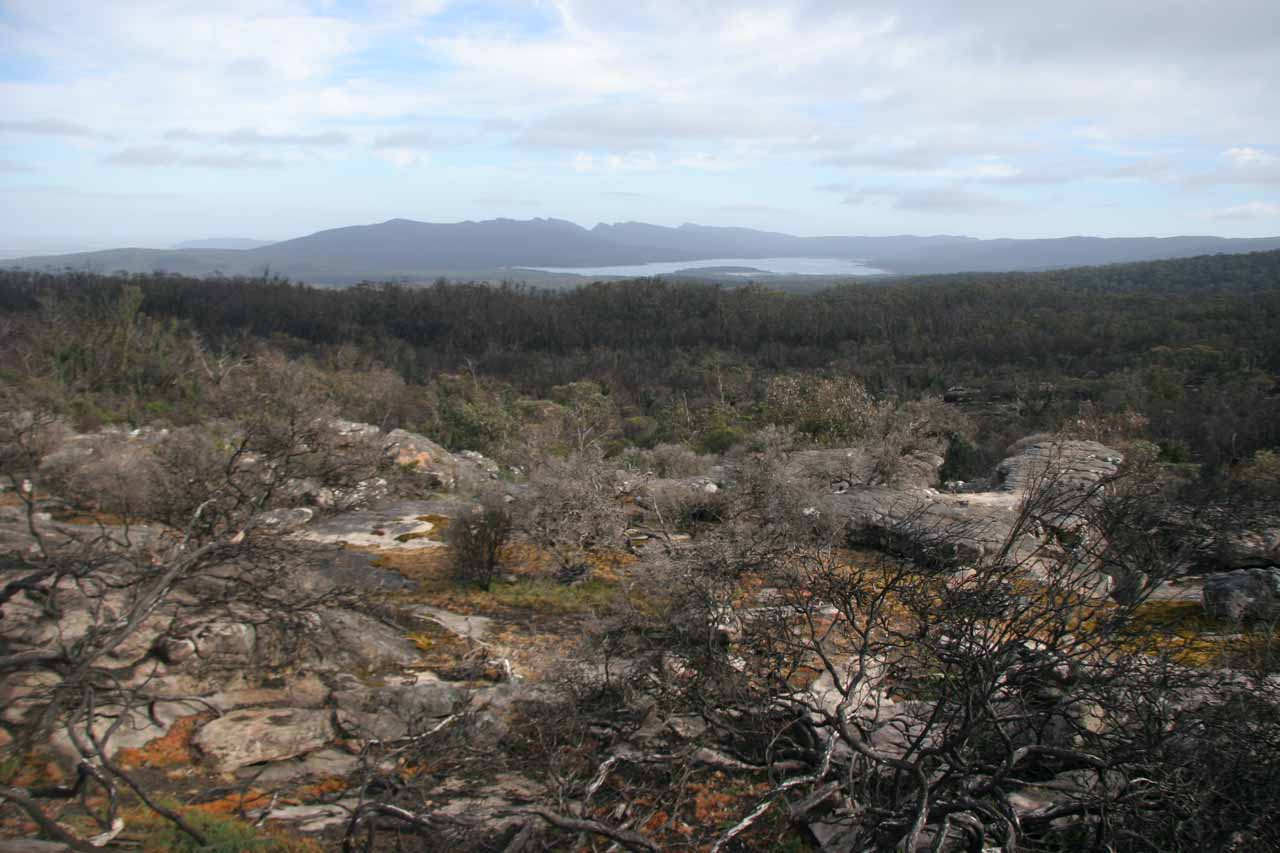 Before getting to Mackenzie Falls, we got this view looking past some mushroom rocks or pedestal rocks towards Lake Wartook in the distance, which was the very source of the falls