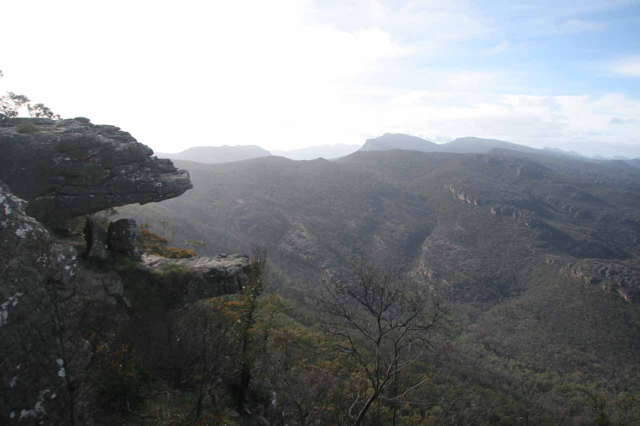 This was the Balconies Overlook, where the Pacman-like formations framed the rugged beauty of the Grampians even if much of the landscape was scarred by wildfires