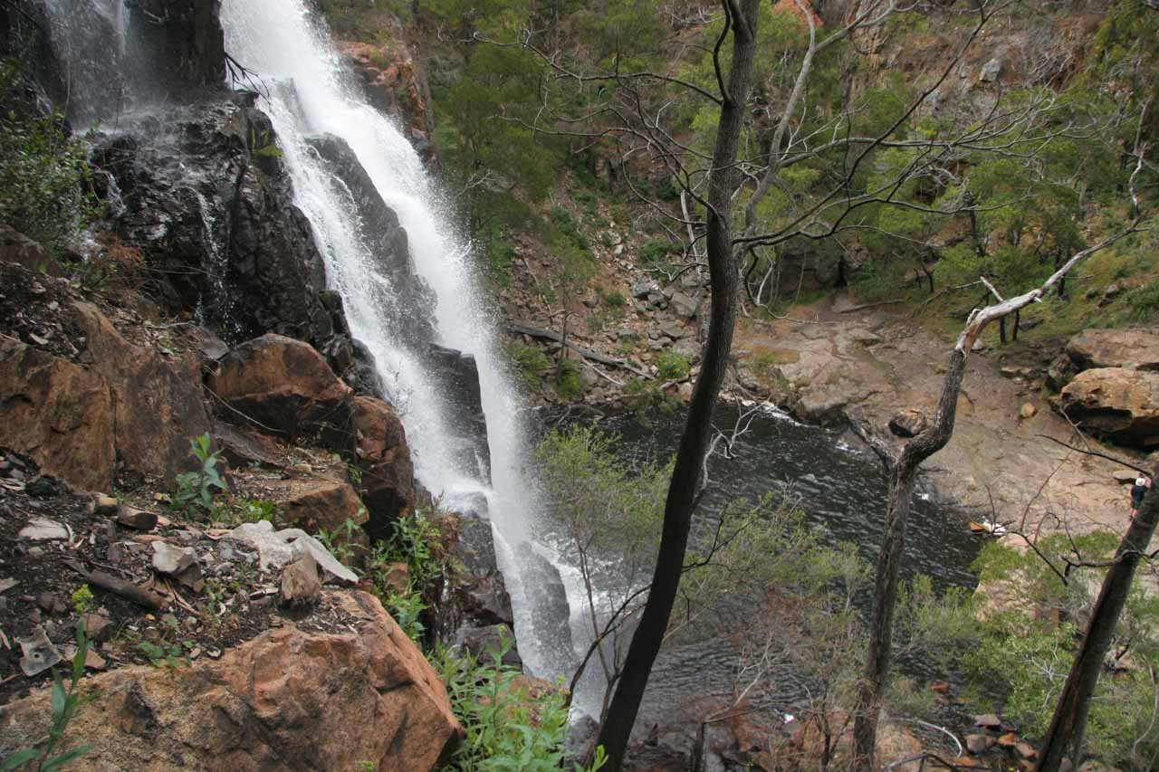 Profile view down past the main plunge of MacKenzie Falls showing a hint of its plunge pool beneath
