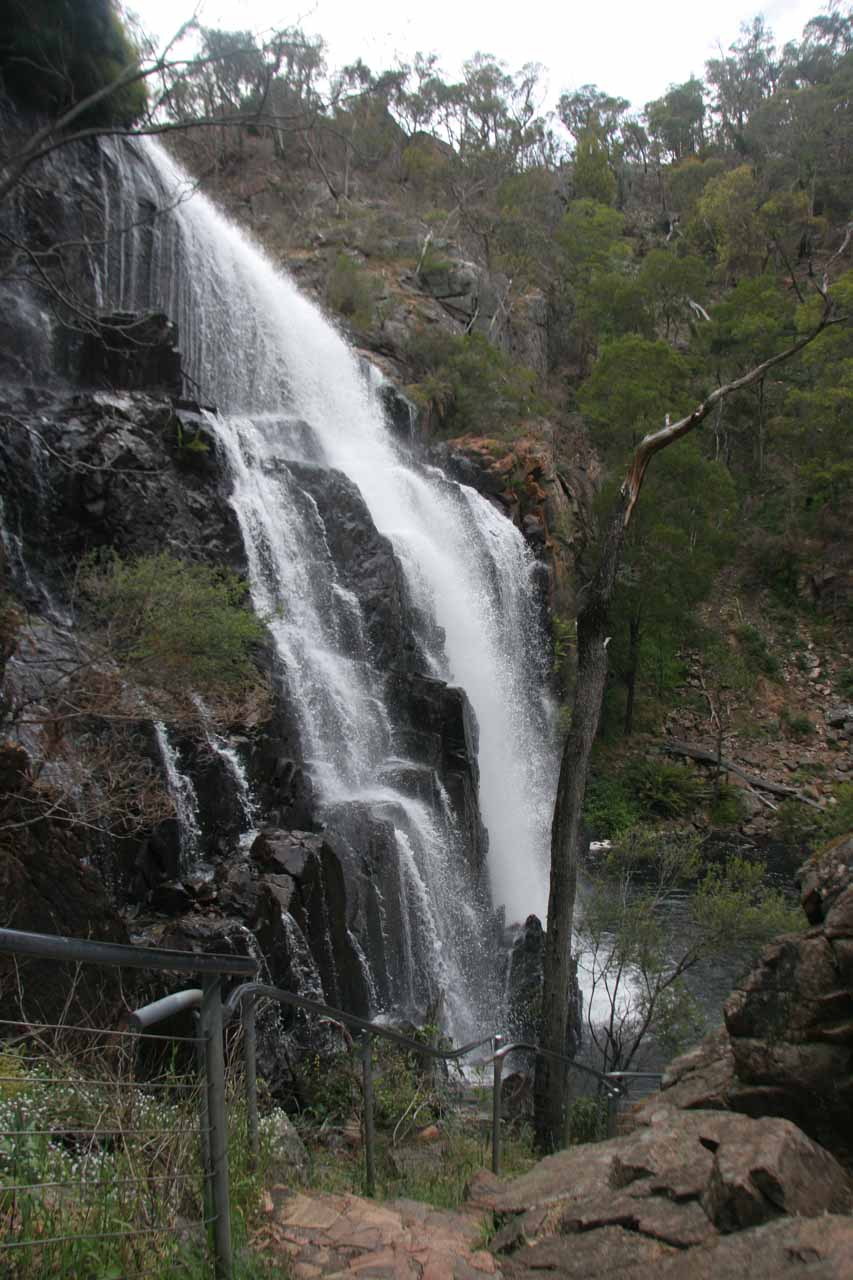 Sideways view of the MacKenzie Falls as we near the bottom