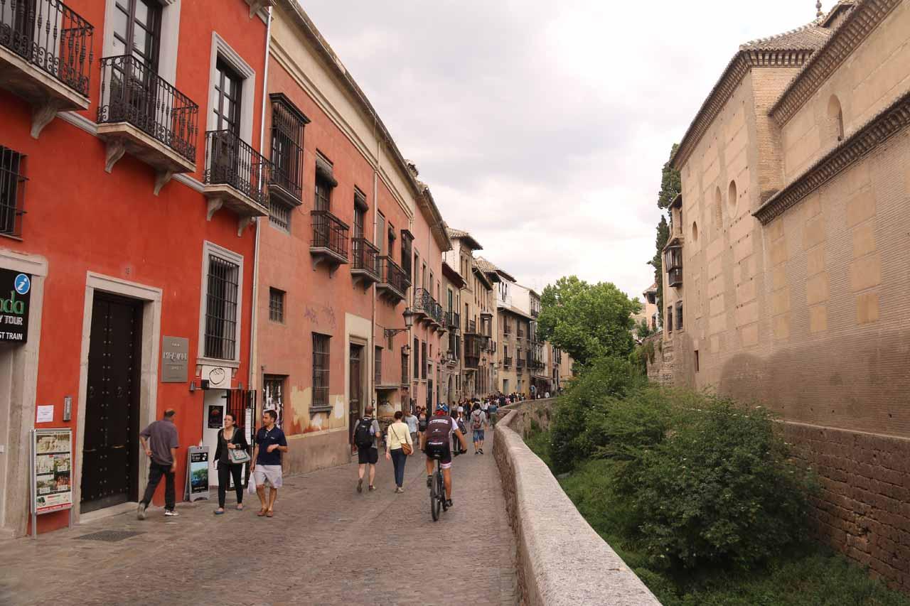 Continuing along the Rio Darro north of the Plaza Nuevo in Granada