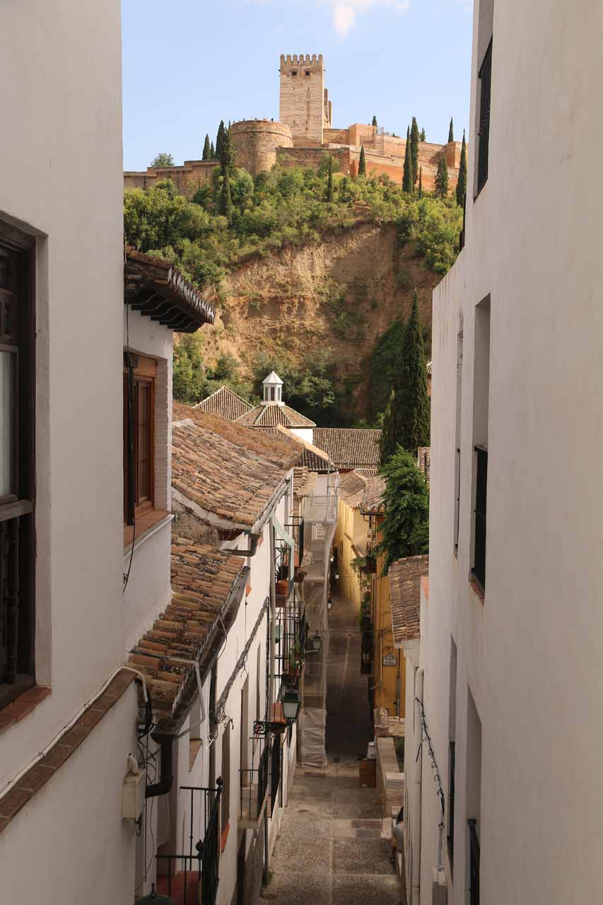Looking back towards the Alhambra as we were making our way up a random narrow stair-stepped street