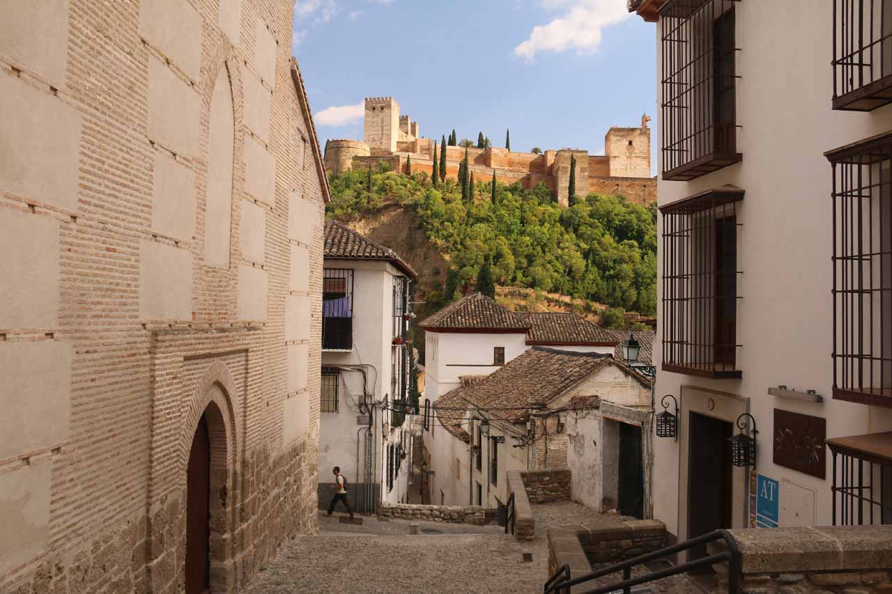 Looking back towards the Alhambra as we were walking up some random streets and steps towards the Mirador San Nicolas