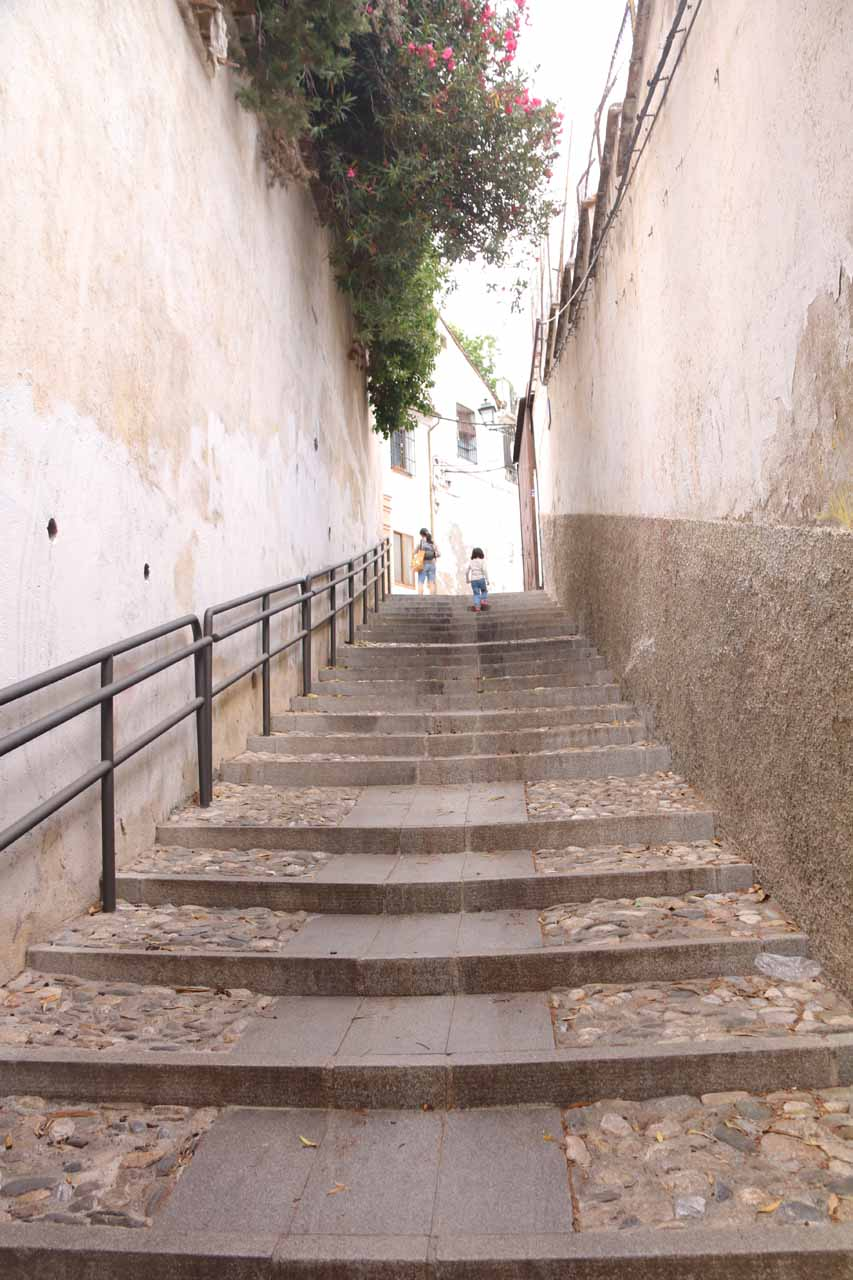 Julie and Tahia continuing up a very narrow stepped street on our way up to Mirador San Nicolas
