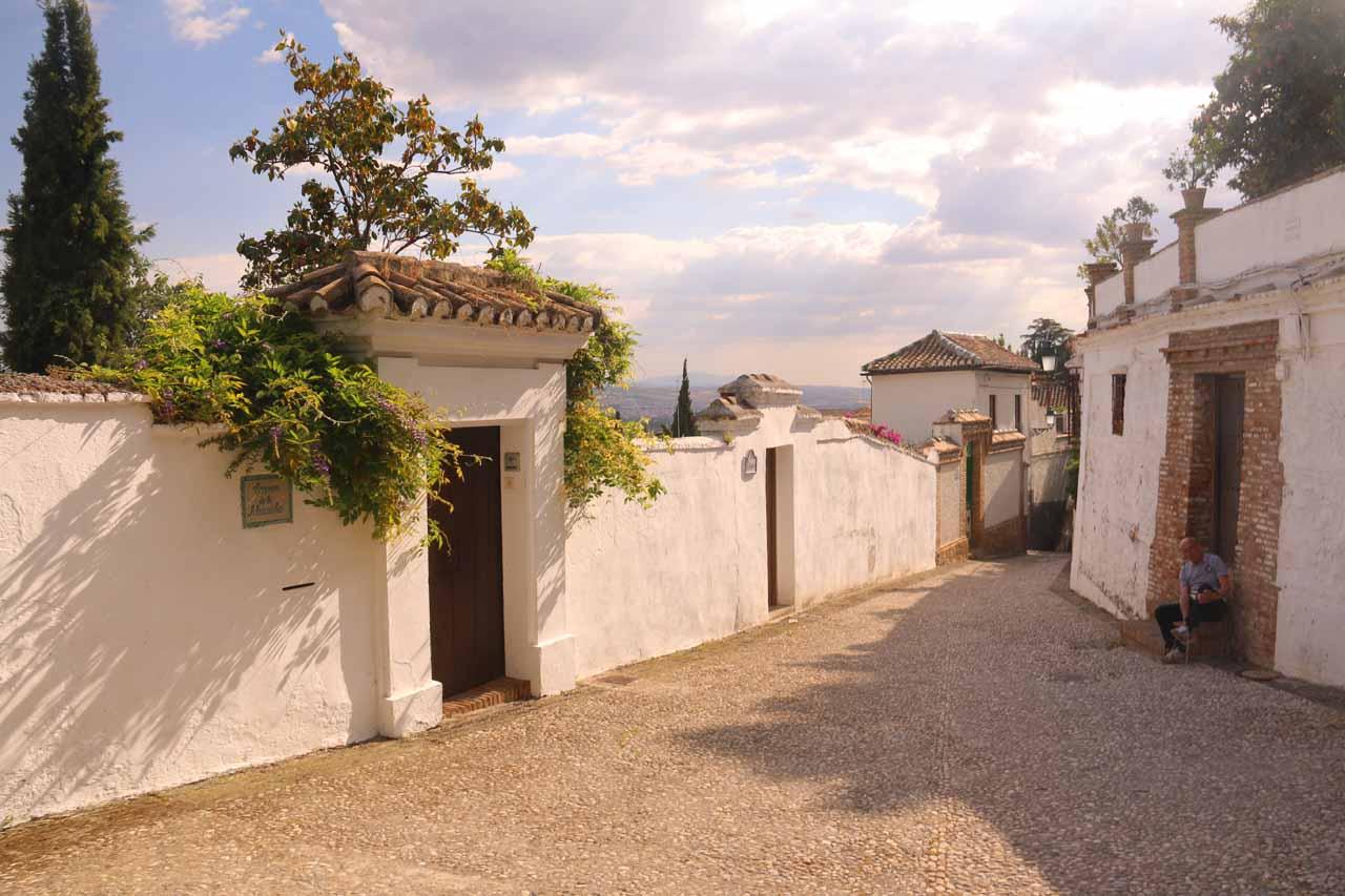 On one of the narrow streets getting closer to the Mirador de San Nicolas