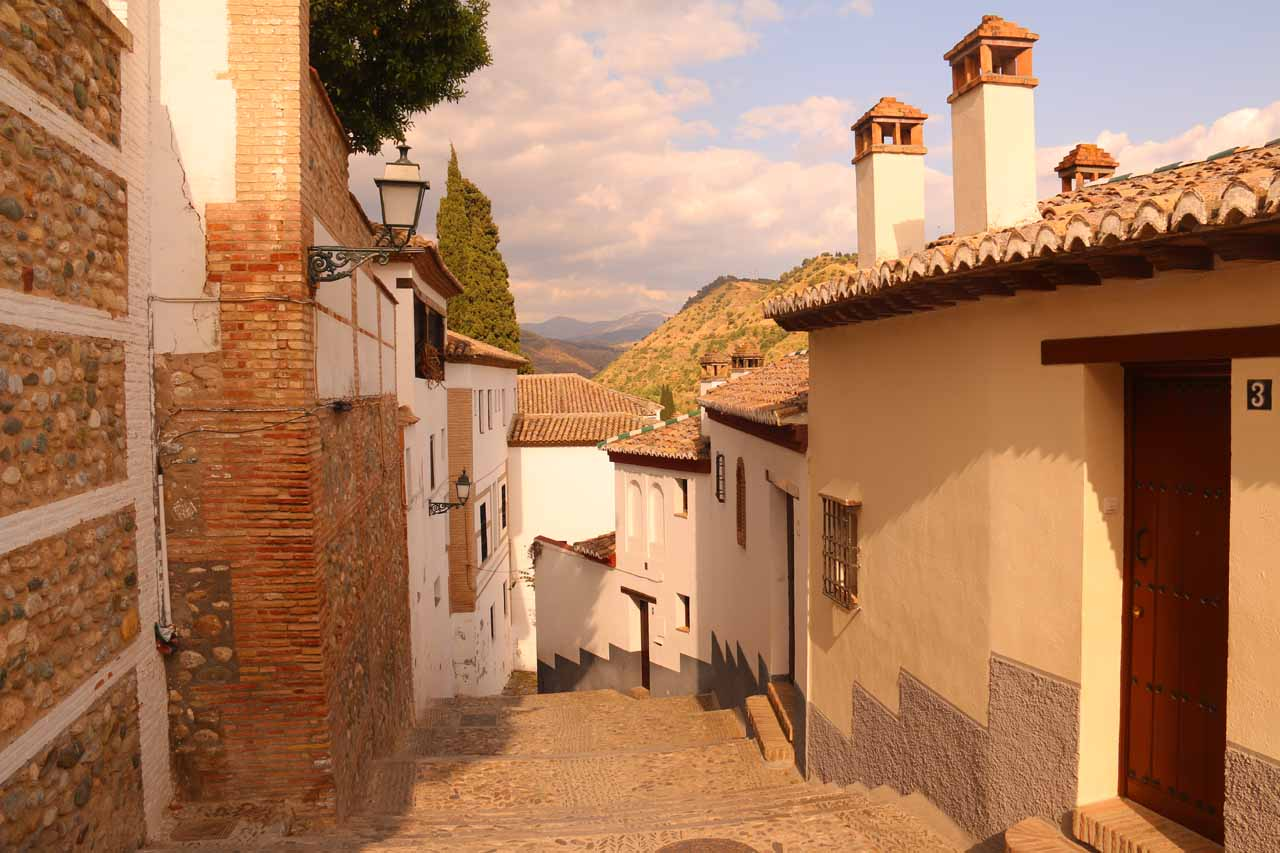 Looking back down towards some steps on another street that ended up not leading us to the Mirador de San Nicolas