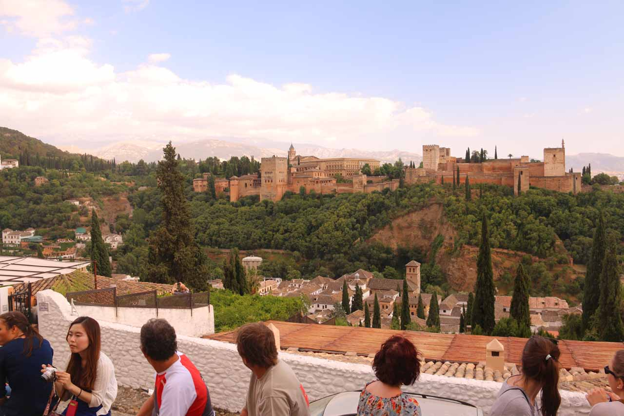 Trying to capture the entire width of the Alhambra but at the expense of getting obstacles in the picture