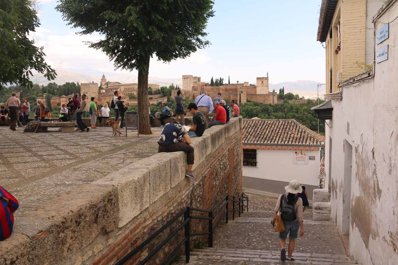 Julie starting to descend from the Mirador de San Nicolas