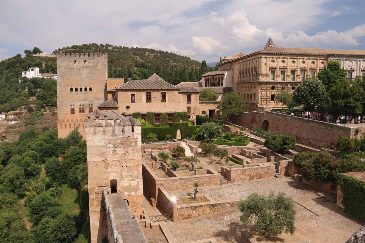 Looking down towards the area where the Palacio de Nazaries as well as other parts of the Alcazaba are