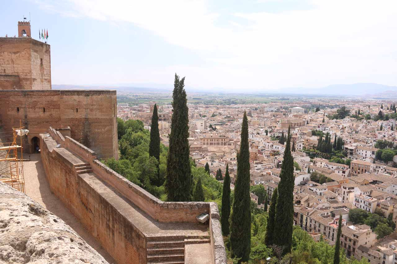Context of the Alhambra walls with the Albayzin down below