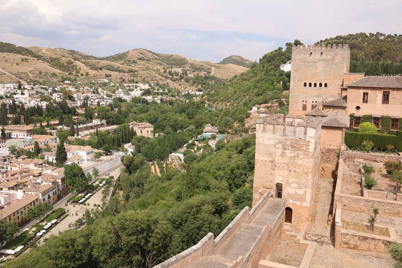 Contextual view towards Sacromonte from one of the towers of the Alcazaba