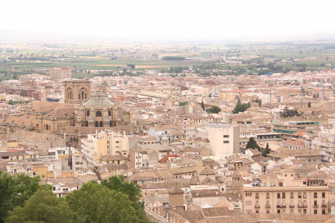 Looking towards the rest of the City of Granada from the highest tower at Alcazaba
