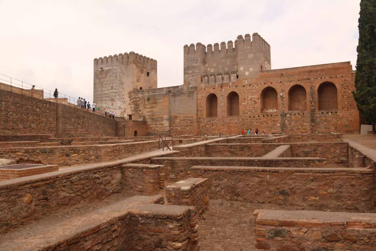 Looking back towards some maze-like infrastructure of a former medina, apparently, at Alcazaba