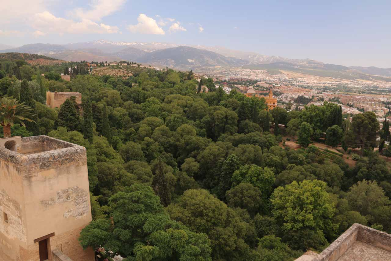 At the Alcazaba's highest tower looking towards the Sierra Nevada over eastern Granada