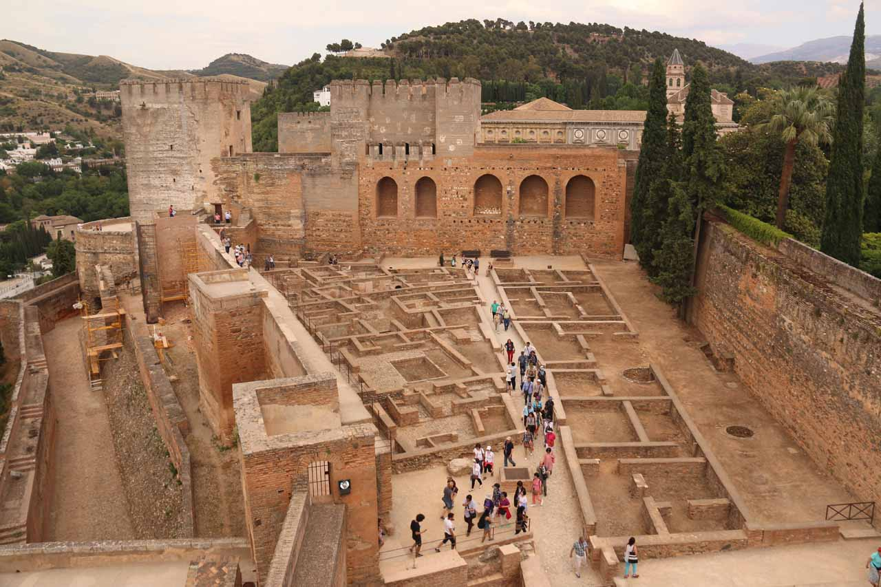 Looking down towards the labyrinth-like quarters of Alcazaba