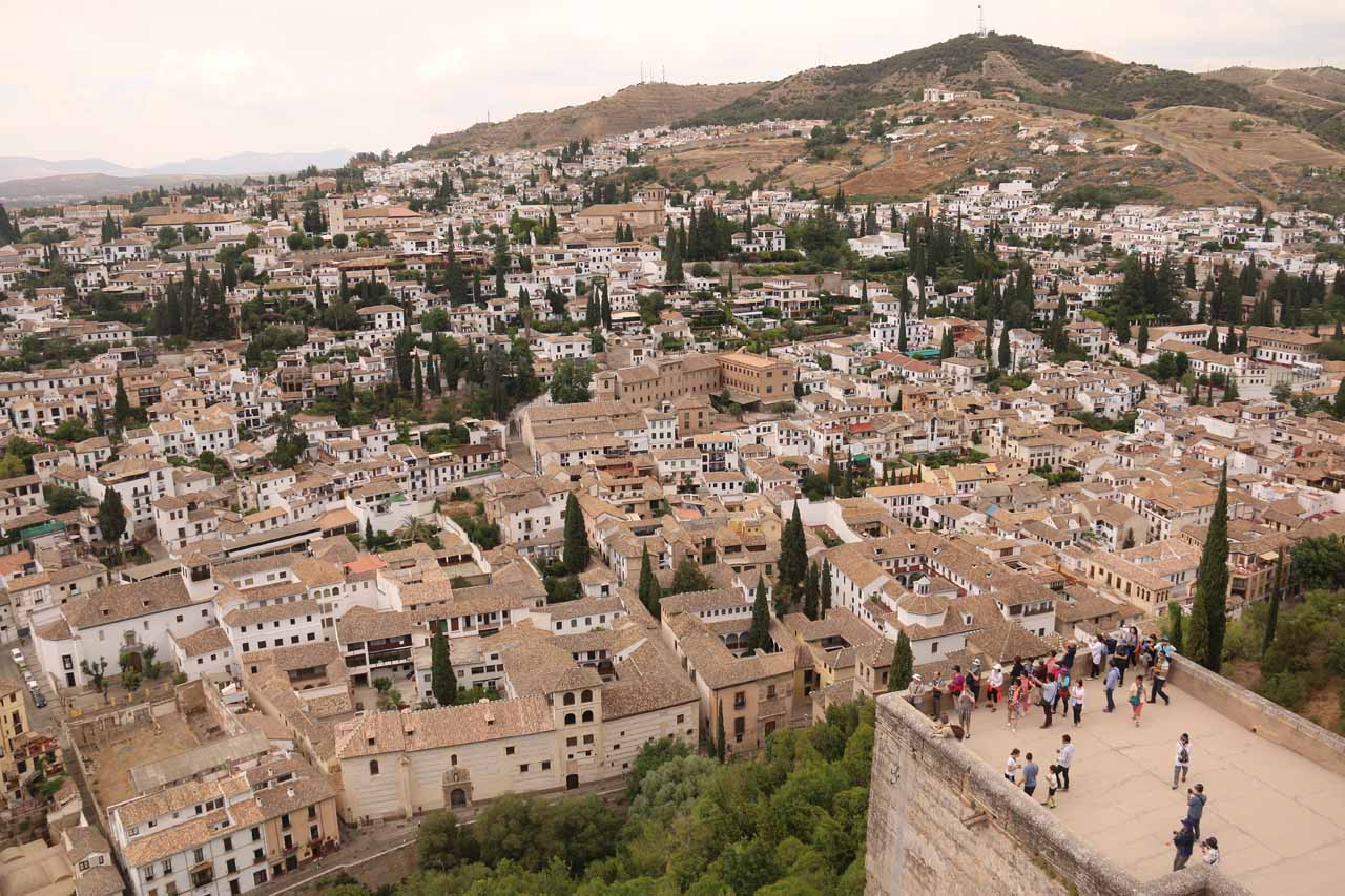View from the highest tower at Alcazaba towards Albayzin neighborhood and also above one of the other towers