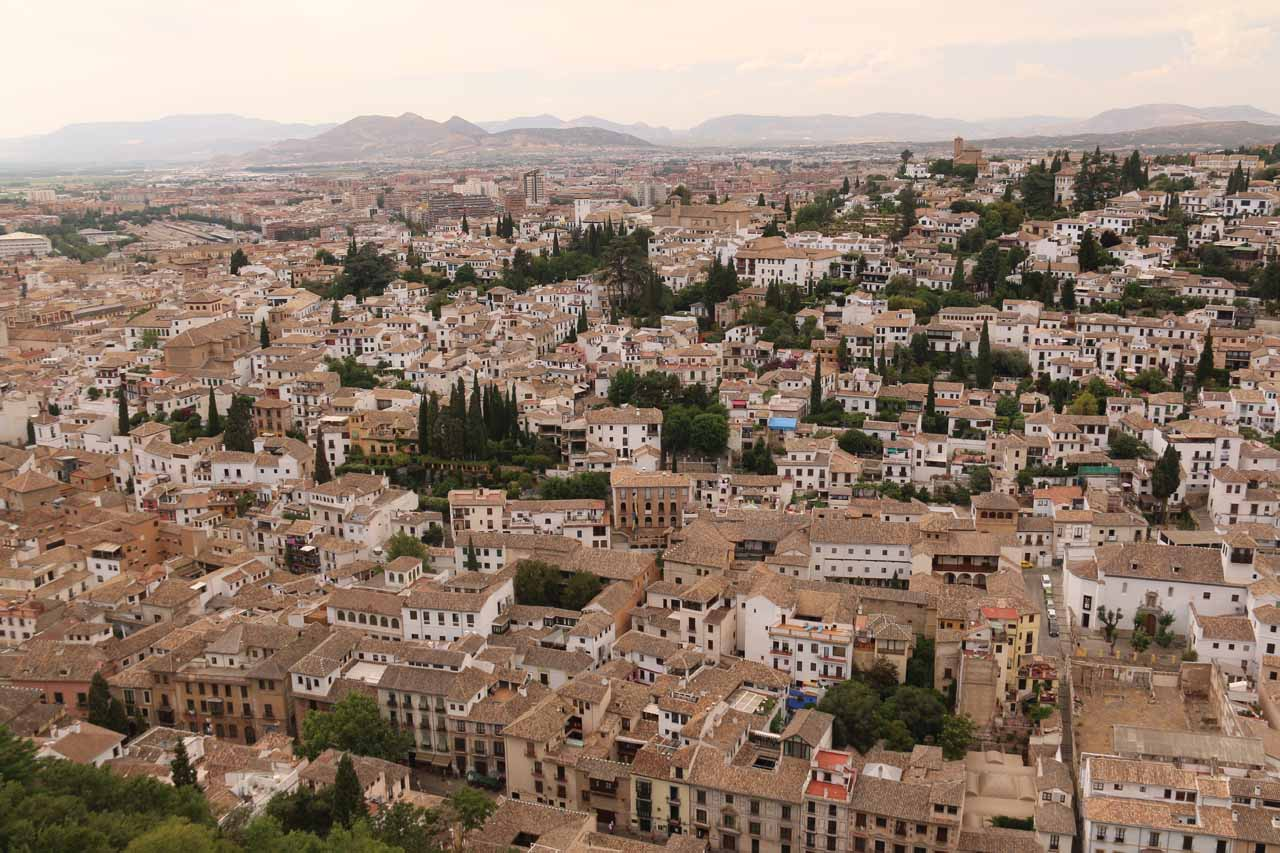 Comprehensive view towards the rest of Granada to the south from the highest tower at Alcazaba
