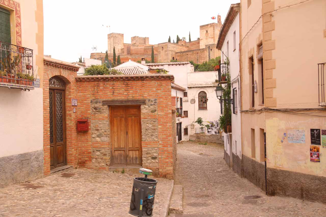 A spot on the reverse Rick Steves route where we got this glimpse of the Alhambra over some buildings
