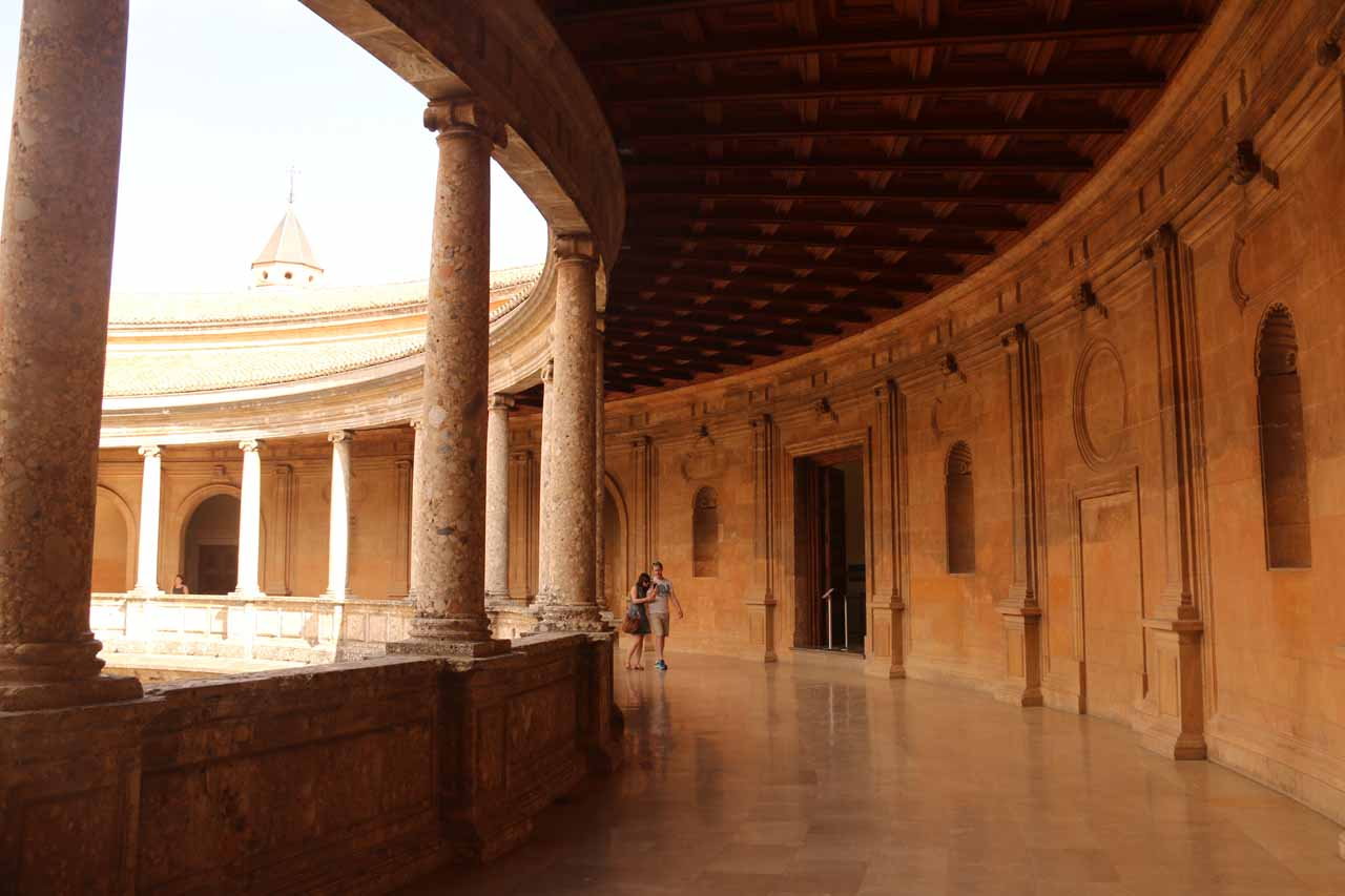 Walking the upper floor of the circular palace of Charles V