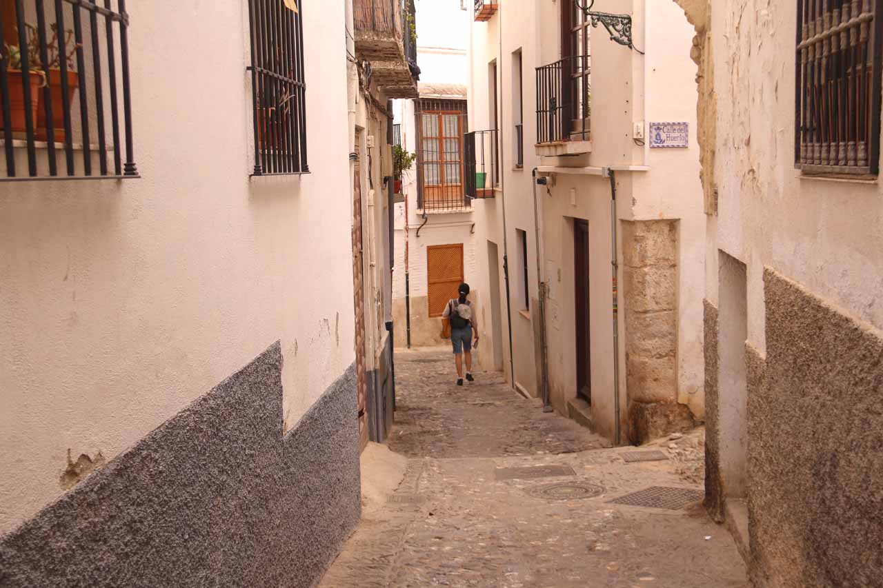 Julie continuing through another narrow alleyway as we were getting closer to the Moorish part of Granada's Albayzin